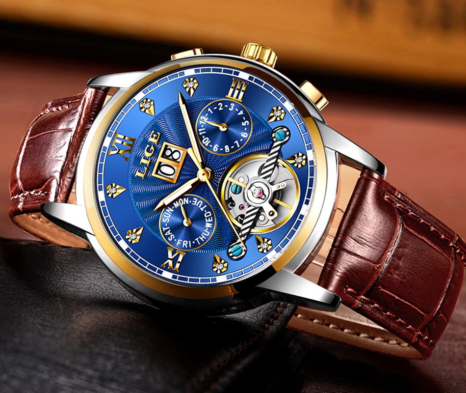 Novo lige relógios masculinos marca de topo