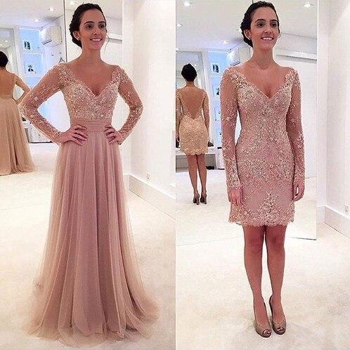 Pink Muslim   Evening     Dresses   2019 A-line V-neck Long Sleeves Tulle Beaded Islamic Dubai Saudi Arabic Long Formal   Evening   Gown