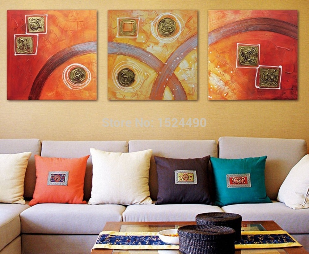Handmade free shipping 3 panels/set Canvas painting abstract oil ...