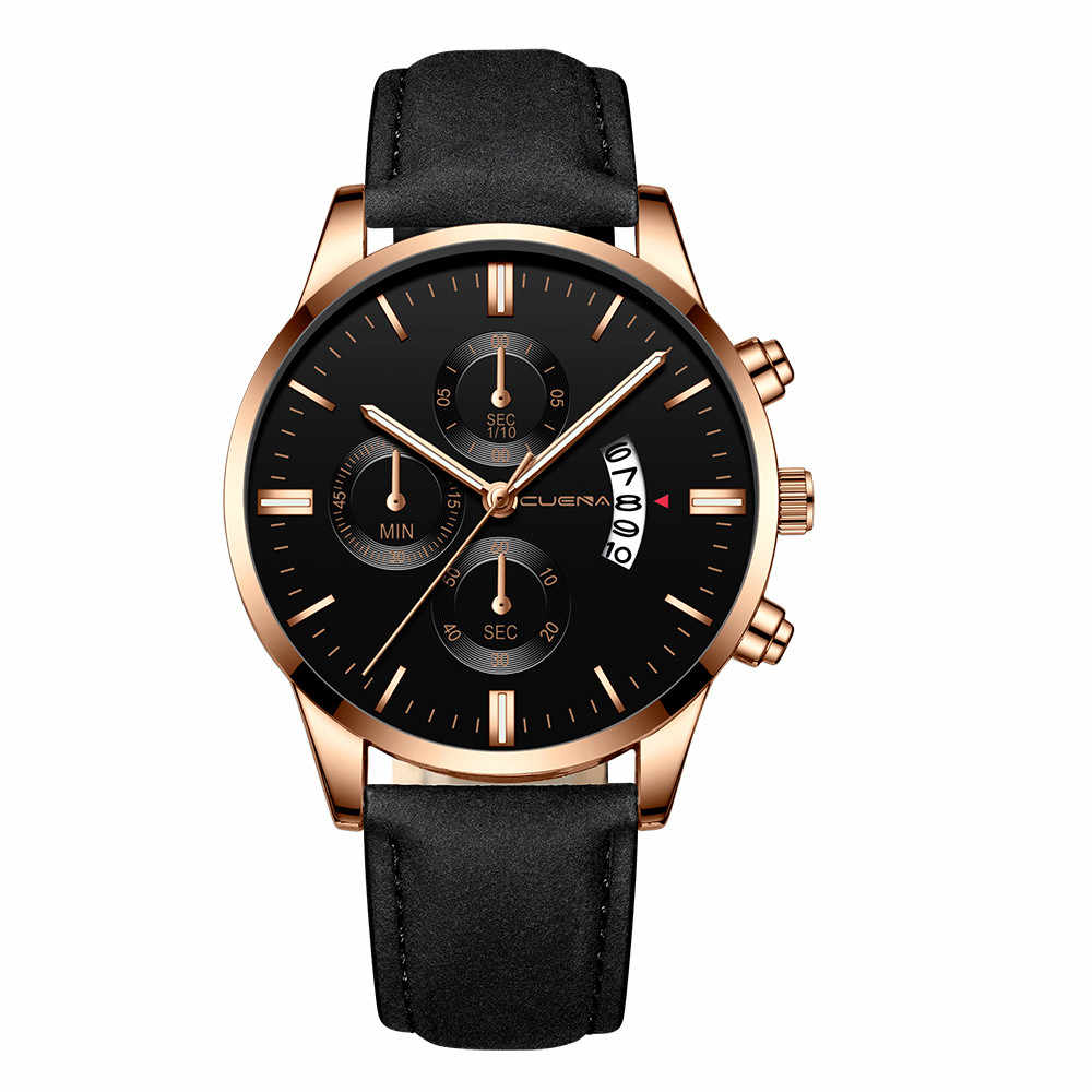 2019 Horloge Mannen Met Datum Top Brand Luxe Fashion Business Leather Classic Gold Sport quartz Relogio Masculino