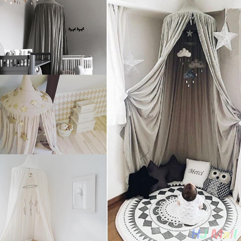 kids baby bedding dome bed canopy netting bedcover mosquito net curtain baby room decoration round crib net free shipping in mosquito net from home garden - Gray Canopy Decoration