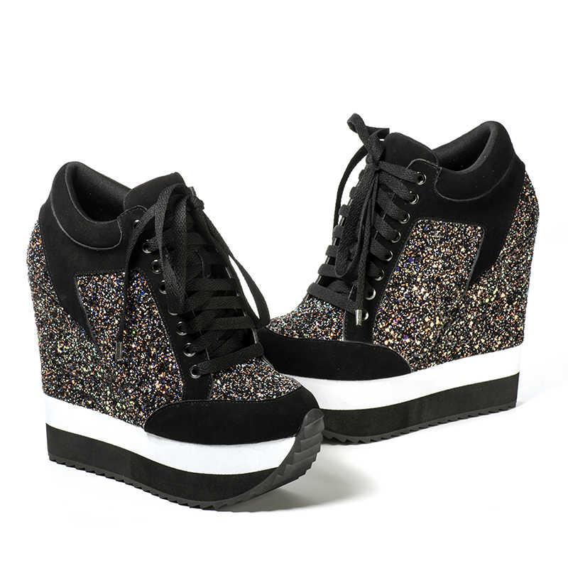 Rosa Palms Glitter Schuhe Frauen in frauen Pumpen Erhöhte High Heels Schuhe Keil Heels Frauen Pumpen Feminino Sapato Feminino