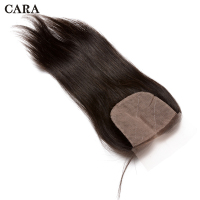 Silk Base Closure Brazilian Straight Hair 4x4 Virgin Hair Pre Plucked Lace Closure Natural Color Baby Hair Bleached Knots CARA