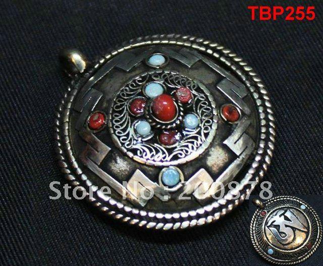 Tibet JewelryTBP255 Tibetan holly city Mandala amulet pendant,40mm,double sides vintage pendants,Tibet Shamballa jewelry