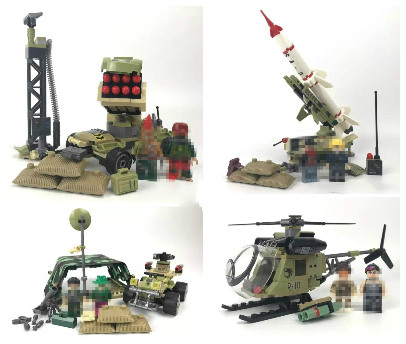 Hot Sale 4in1 Military Army Black Gold Pursuit Rocket Gun Car Helicopter Building Block Brick Figures Toy DIY Model Boys Gift футболка toy machine black sect army