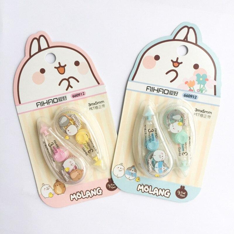 2 Pcs/pack Happiness Fat Rabbit Press Type Decorative Correction Tape Diary Stationery School Supply