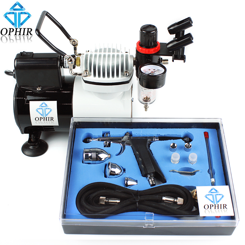 OPHIR 0.3mm,0.5mm,0.8mm Spray Set Airbrush Compressor with Fan for Hobby Furniture Crafts Paint_AC114+AC069 ophir pro airbrush compressor 110v 220v with fan