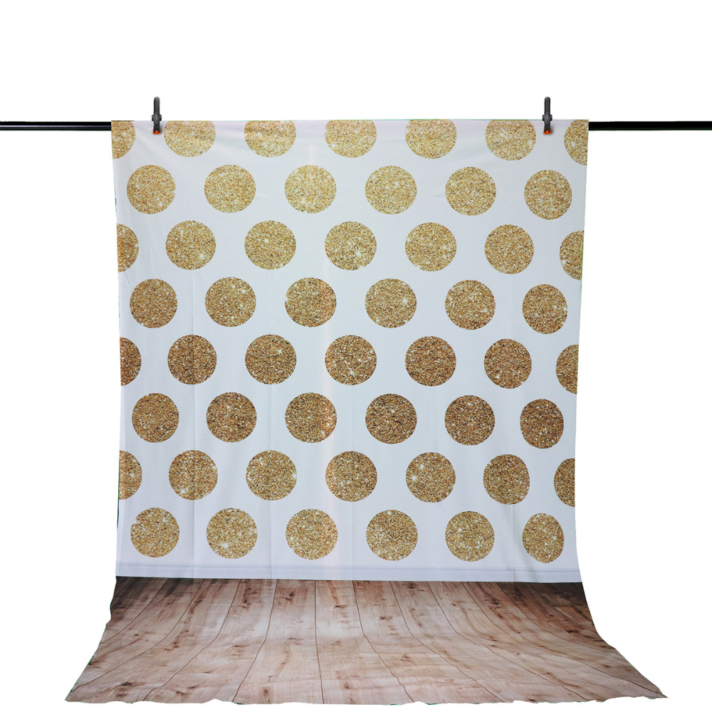 Allenjoy photography vinyl backdrops birthday White Circle Gold Spots wooden party Photo for studio vintage background HD file allenjoy backdrops baby shower background pink stripe rose gold circle birthday invitation celebration party customize