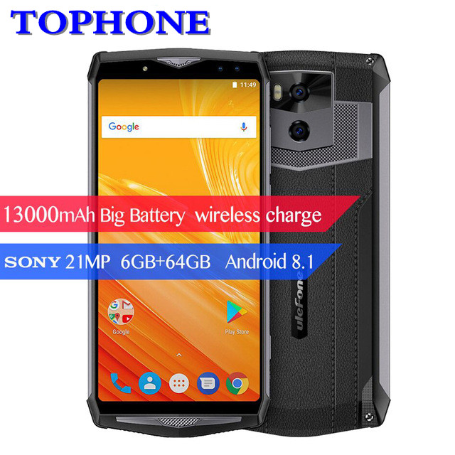 "Ulefone Power 5 6.0"" FHD 4G Smartphone MTK6763 Octa Core Face ID Android 8.1 6GB+64GB 21MP 13000mAh Wireless charge mobile phone"