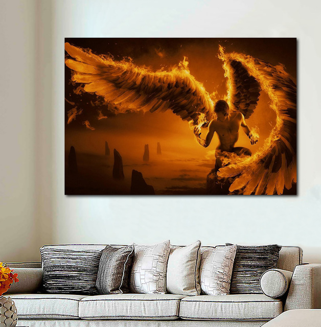 Us 11 98 Fire Man Angels Wings Dy071 Living Room Home Wall Art Decor Wood Frame Fabric Posters In Painting Calligraphy From Home Garden On