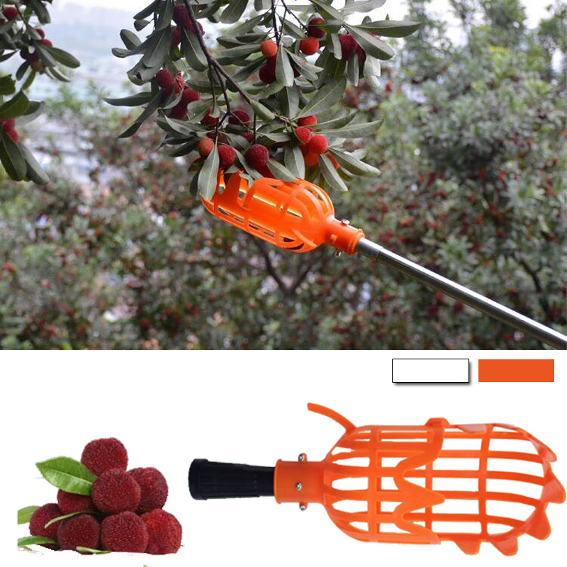 1Pc White/Orange Plastic Fruit Picker Without Pole Collector For Gardening Fruit Picking Tool Durable Horticultural Fruit Picker