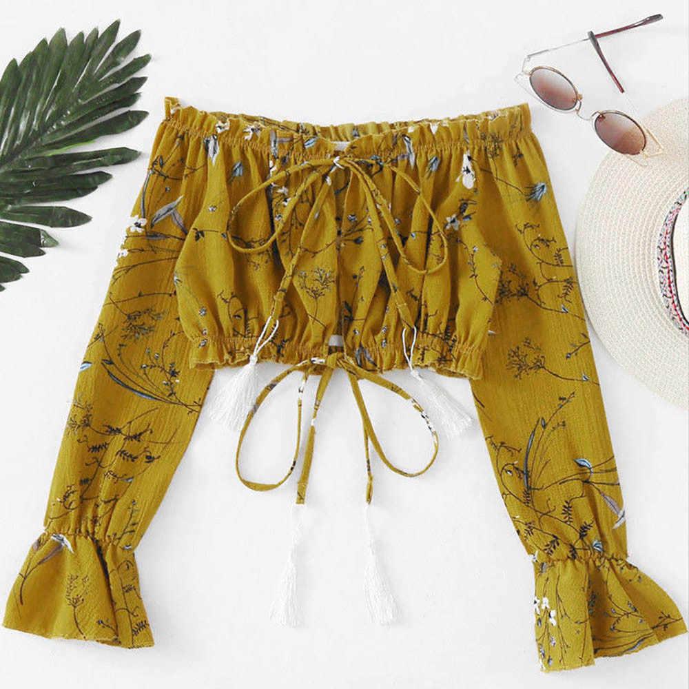 レディースオフショルダーシフォン包帯印刷ブラウス夏の女性のファッションショートブラウス女性 Tシャツはカジュアル女性 Blusas