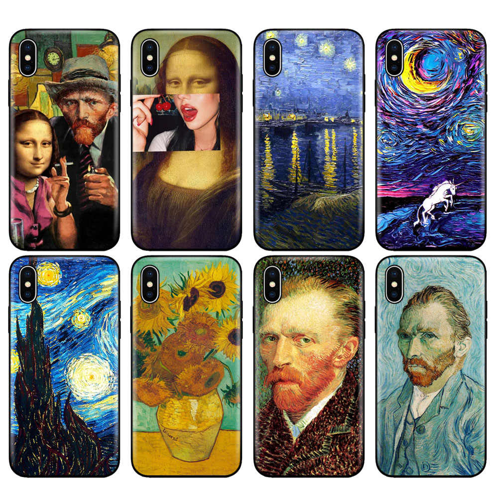 Zwart tpu case voor iphone 5 5s se 6 6s 7 8 plus x 10 case silicone cover voor iphone XR XS 11 pro MAX case Van Gogh Starry Night