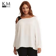 Kissmilk 2018 Plus Size Color Block New Fashion Women Tops Lace Up One Off Shoulder Lantern Sleeve Female Loose T Shirts color block lace up t shirt