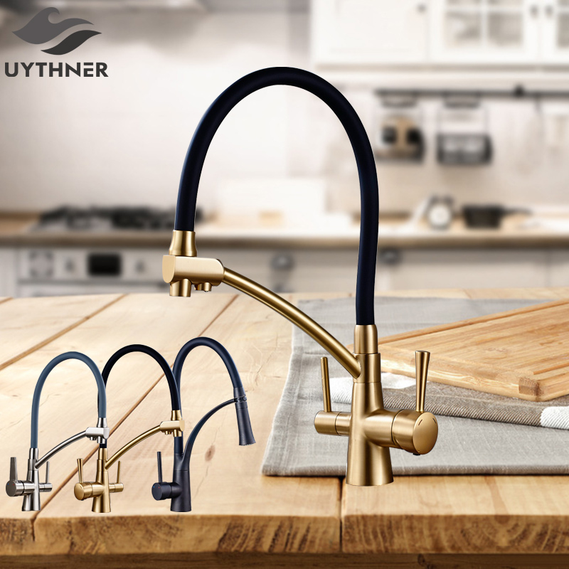Uythner Kitchen Purification Flexible Rotated Kitchen Faucet Dual Spout Dual Handles Mixer Tap Hot and Cold