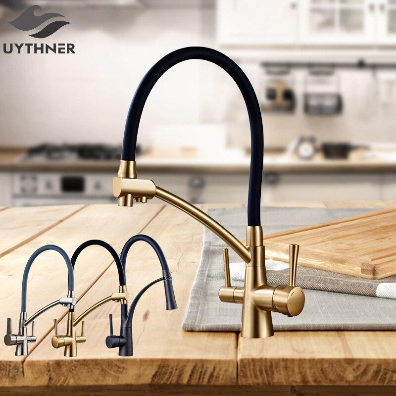Uythner Best qualità Flessibile Ruotato Rubinetto Della Cucina con Erogatore Dual Diversi Maniglie Miscelatore Rubinetto dell'acqua Calda e Fredda Deck Mounted