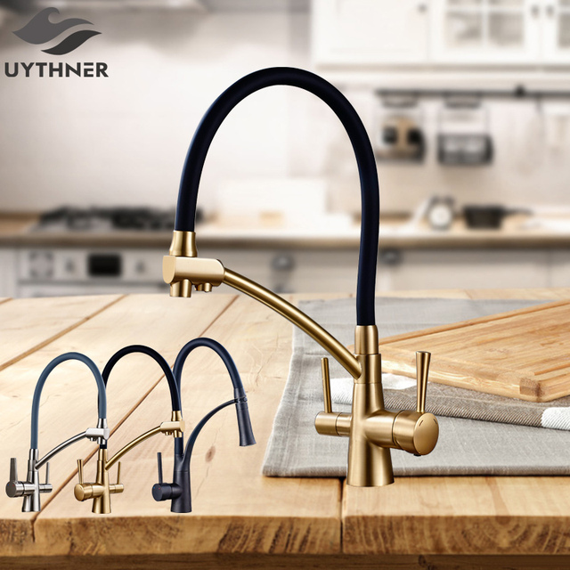 Uythner Kitchen Purification Flexible Rotated Kitchen Faucet Dual Spout Dual Handles Mixer Tap Hot and Cold Pure Water Mixer