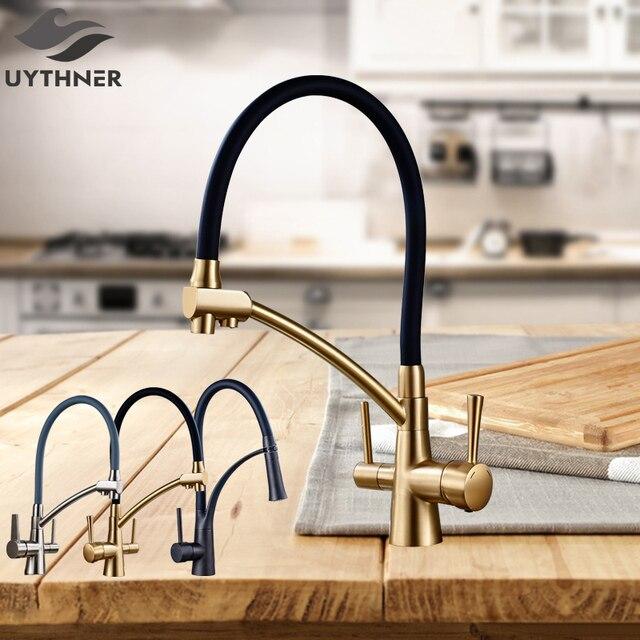 Uythnerキッチン浄化柔軟な回転台所の蛇口デュアルスパウトデュアルミキサータップハンドルホット & コールド純水ミキサー