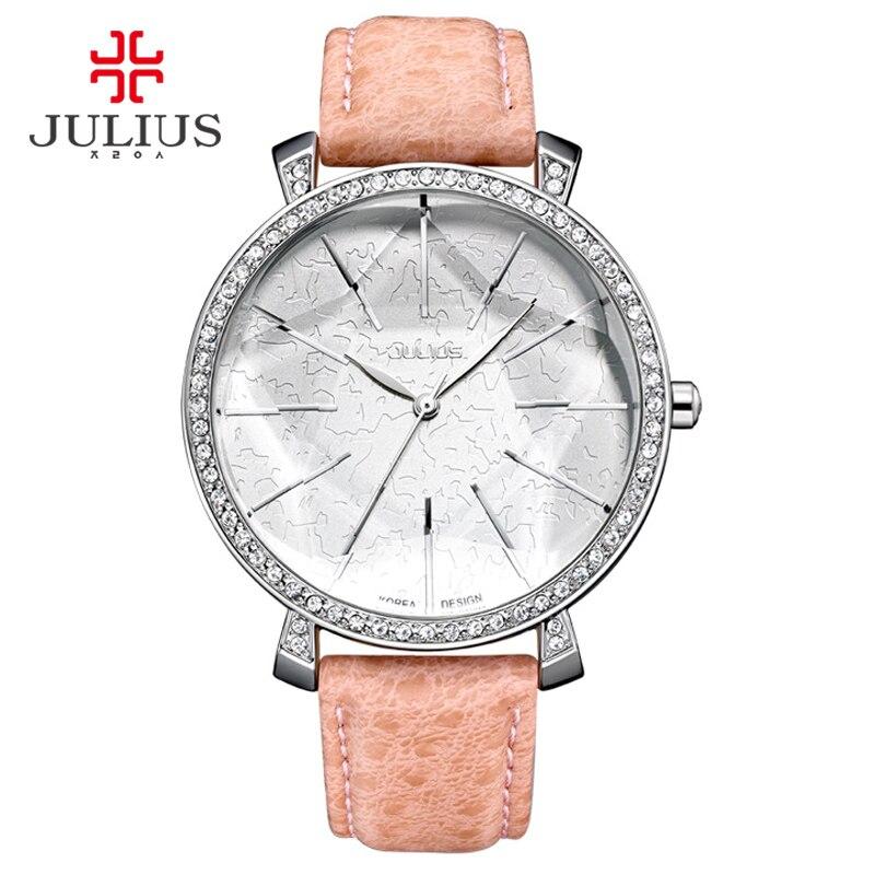 Julius Fashion Watch Women Big Dial Watch Japan Quartz Whatch Women Beige Ladies Designer Watch Brand Logo Reloj mujer JA 517