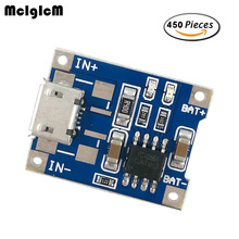 MCIGICM 450 pcs TP4056 1A Lipo de Carregamento Da Bateria bateria de lítio Board Módulo Charger DIY MICRO Porta USB Microfone venda Quente
