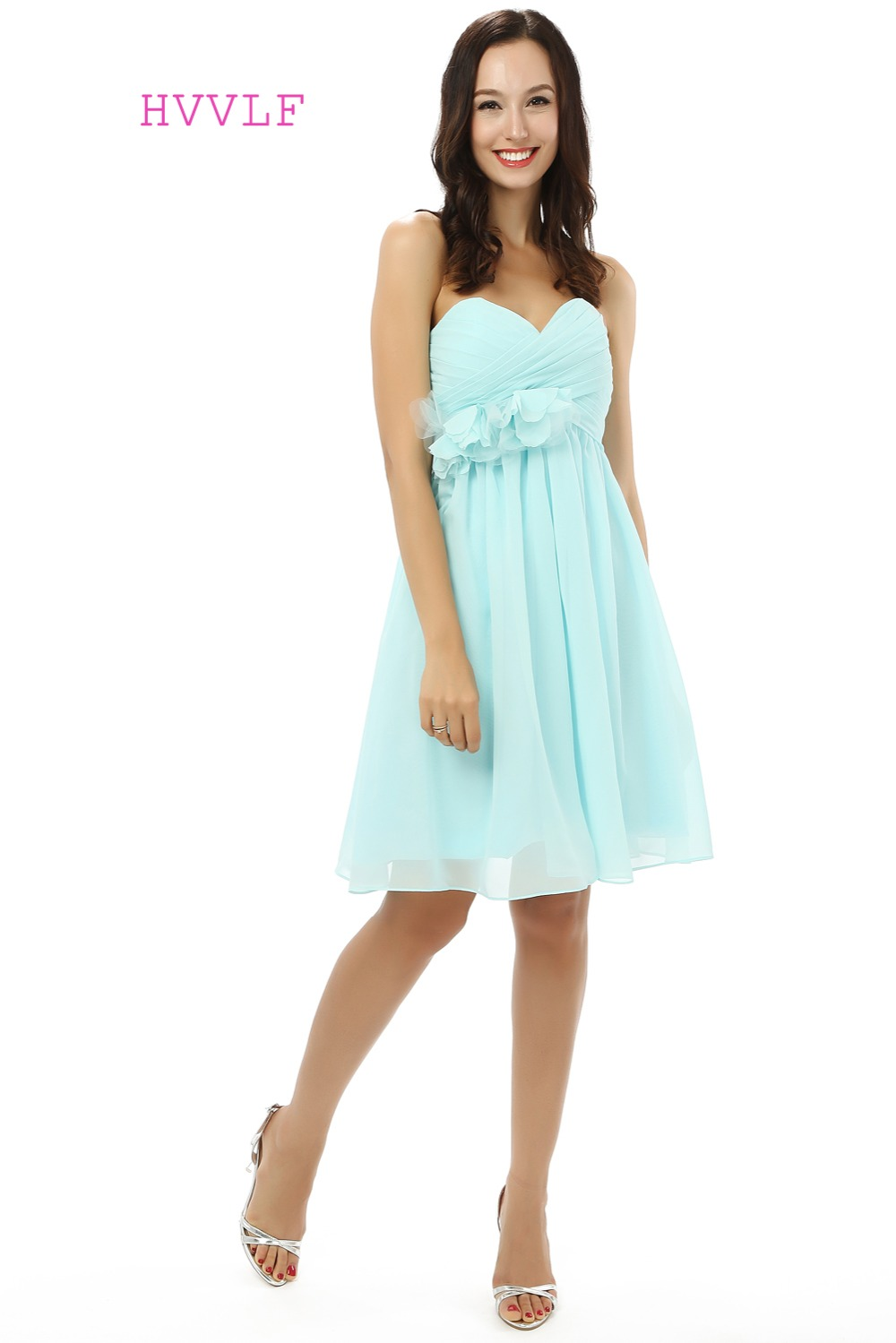 Cheap 2017 Cheap Bridesmaid Dresses Under 50 A-line Sweetheart Short Mini Chiffon Turquoise Flowers Wedding Party Dresses