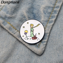 DMLSKY Little Fox and Prince Brooch Cartoon Cute Enamel Pins For Women Men Backpack Personality Pin Accessory M2788