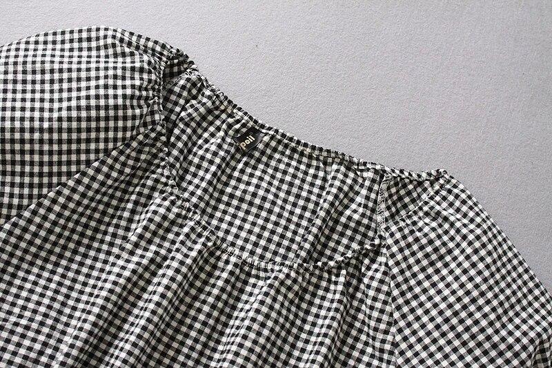 Encolure Vichy Robe Set 2017 Plaid 2 Pièce Femmes gEvOqEw6
