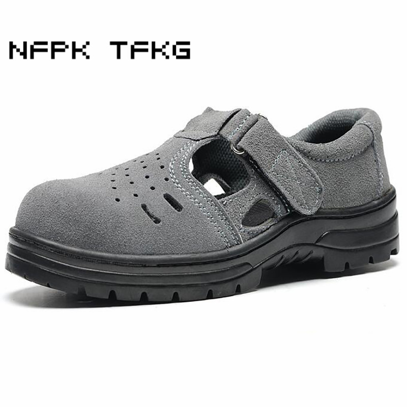 big size men grey breathable summer sandals steel toe covers work safety summer shoes plate bottom soft leather booties zapatos