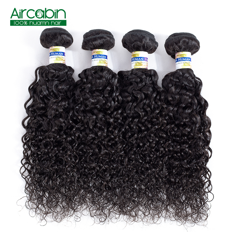 Brazilian Hair Water Wave Bundles Human Hair Weave 4 Bundles AirCabin Remy Extensions Natural Black Can Be Dyed and Bleached