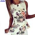 Mulheres verão Floral Sem Mangas Regulares O-pescoço Aconchegante Blusa Senhora Verão Camisas