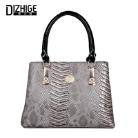 DIZHIGE Women Handbag PU Leather Serpentine Saffiano Ladies Casual Top Handle Bags Female Tote Bag Large