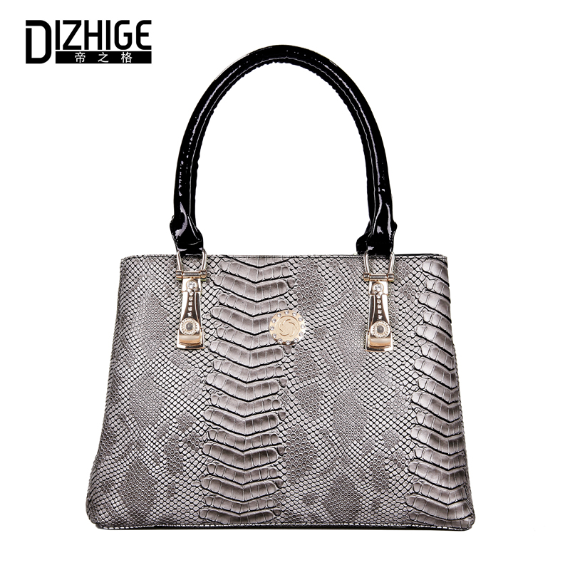 DIZHIGE Women Handbag PU Leather Serpentine Pattern Handbags Ladies Top Handle Bags New Large Capacity Totes Bag Brand Designer