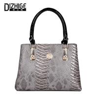 DIZHIGE Women Handbag PU Leather Serpentine Saffiano Ladies Casual Top Handle Bags Female Tote Bag Large