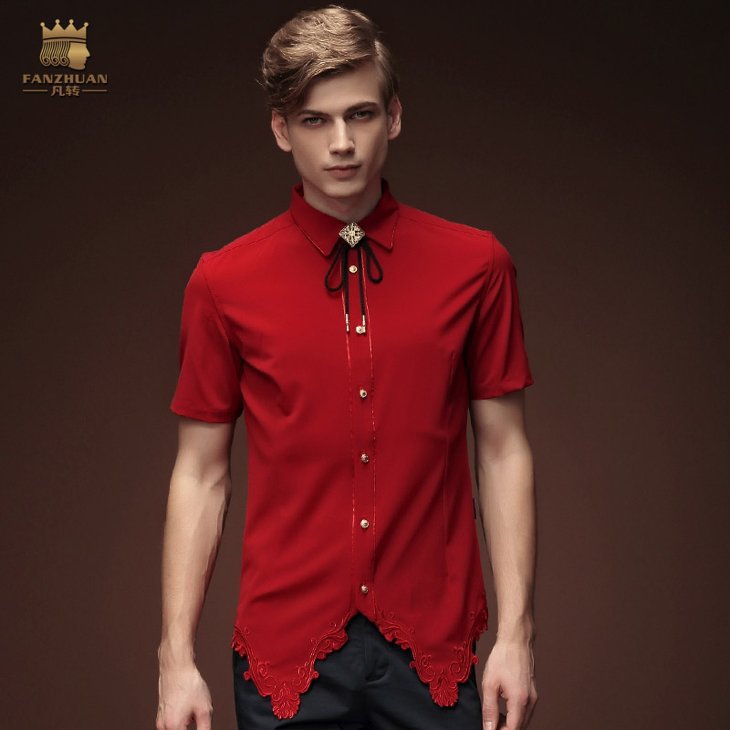 Fanzhuan Free Shipping New Fashion Personality Male Men S Red Shirt 15363 Blouse Irregular Short Sleeved