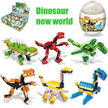 Assembling building blocks toy dinosaur robot Jurassic world brick singular egg small particles amazing model