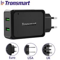 Tronsmart W2TF 두 USB 포트 퀄컴 인증 빠른 충전 3.0 USB 충전기 VoltiQ 빠른 전화 벽 충전기 어댑터 [EU 미국 영국]