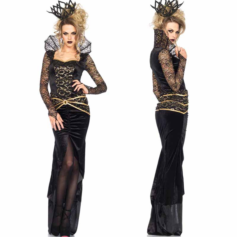 Witch Cosplay Women Costumer Dress Black Banquet Dress Outfit Best Sell
