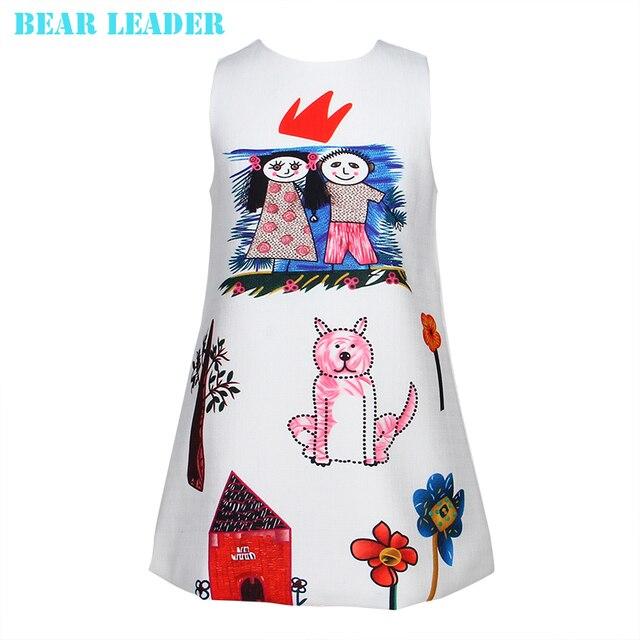Лидер медведь Весна и Осень 2016 Новый Европейский и Американский Стиль Девушки одеваются Характер Белый Рукавов граффити платье принцессы