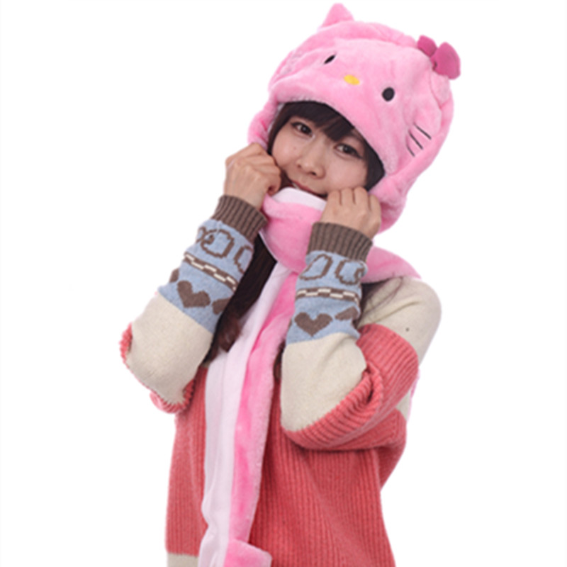 13771607f retail Fashion P kitty children plush hat/animal cap/ cotton Fashion scarf  Hat & Glove 3 in 1 Sets KT hat adult kt cap kitty