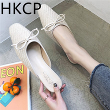 HKCP Fashion Slipper lady 2019 summer new fashion half slipper word with bow Korean version cool slippers C476