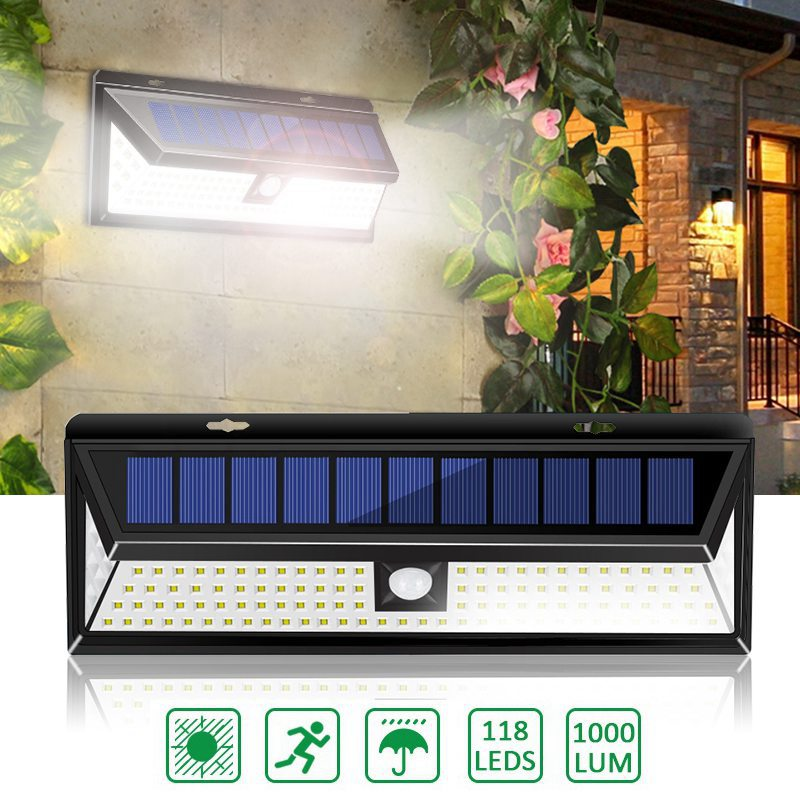 4 Pack 118 LED Solar Lamp PIR Motion Sensor Wall Light Waterproof 1000LM High Bright Emergency Security Lampe Solaire Exterieur|Solar Lamps| |  - title=