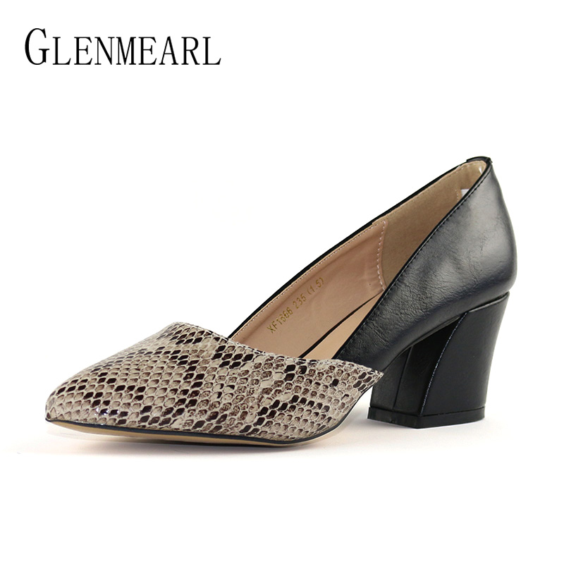 Serpentine High Heels Women Pumps Elegant Thick Heel Pointed Toe Office Lady Work Shoes Brand Slip On Shoe Woman Free ShippingDO serpentine high heels women pumps elegant thick heel pointed toe office lady work shoes brand slip on shoe woman free shippingdo