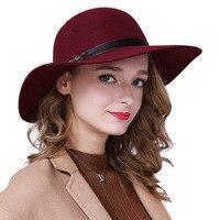 Winter Wool Cloche Fedora Hat For Women Cap Red Camel Black Hats With Belt Bowler Headwear