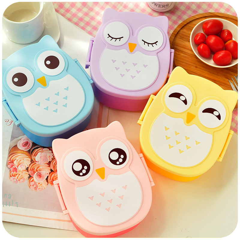 hot sale cute plastic lunch box portable bento box picnic food container carton owl japanese. Black Bedroom Furniture Sets. Home Design Ideas