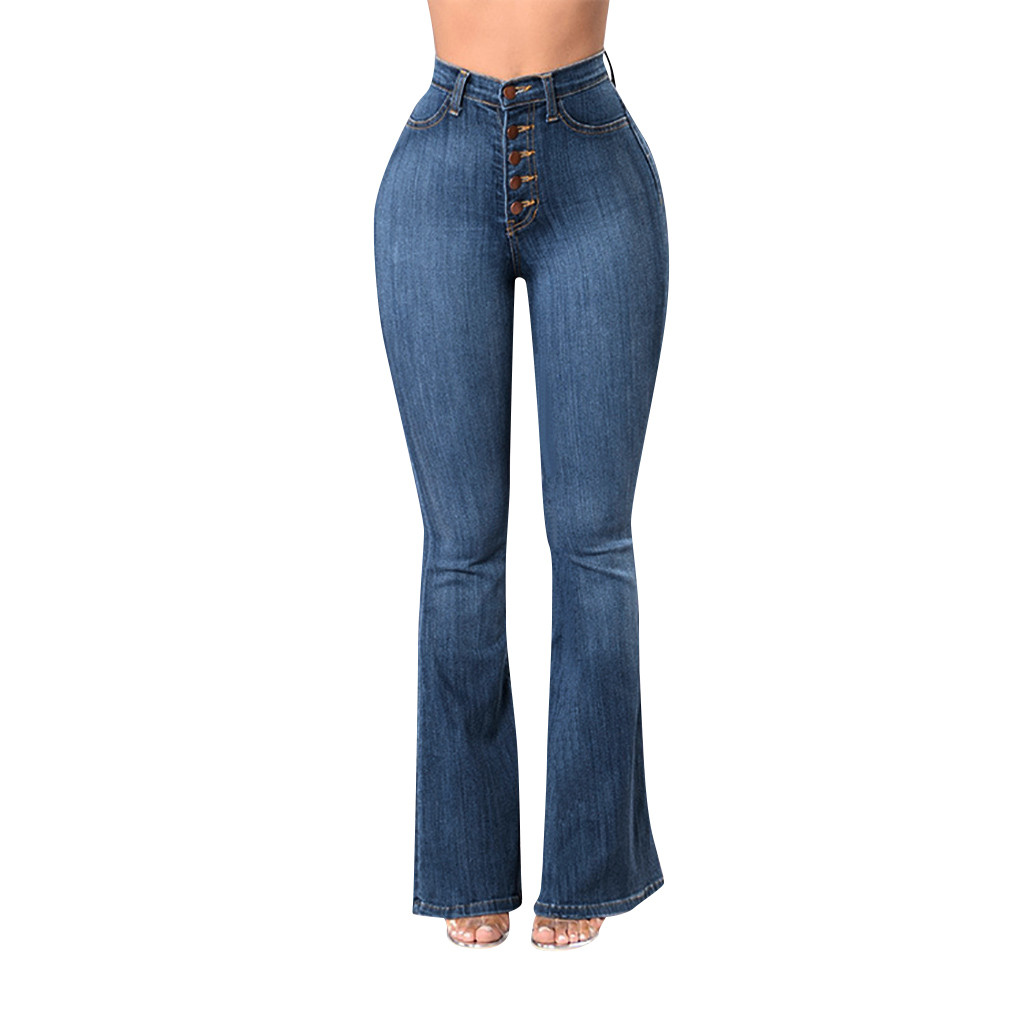 Feitong Navy Blue Mid Waist Flare   Jeans   Woman Denim Trousers Vintage Women Clothes 2019 Plus Size S-XXXXL джинсы жнски