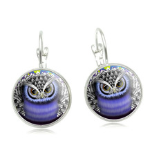 New 2016 Owl Stud Earring For Women Glass Cabachon Bezel Brincos Perola Art Pictures Dome Round Silver Earrings Jewelry