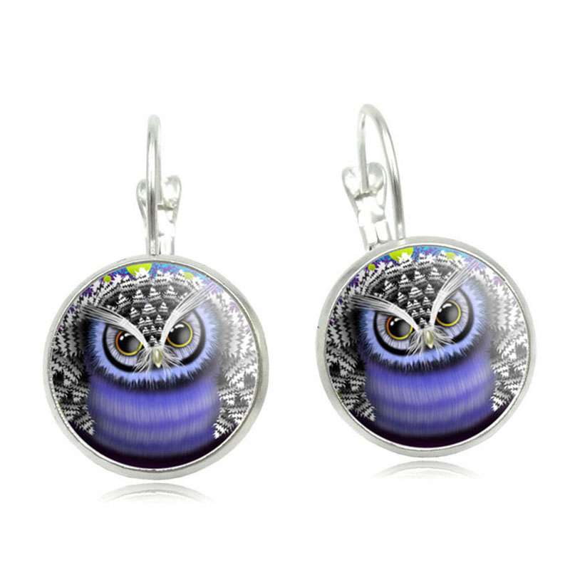 New 2016 Owl Stud Earring For Women Glass Cabachon Bezel Brincos Perola Art Pictures Dome Round Silver Earrings Jewelry image