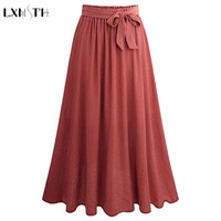 LXMSTH Fashion 2019 Summer Long Pleated Skirt Elastic Waist Bow Lace Up A Line tulle Skirts Women Elegant Skirt Womens Plus Size