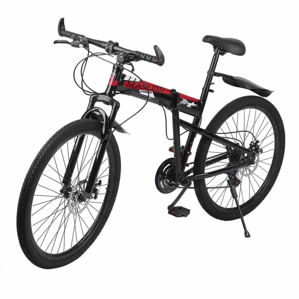High Carbon Steel Double Disc Brakes Variable Speed Folding Bicycle Front Rear Mechanical Brake Mountain Racing Bike bicycle mountain bike 7 21 speed 26x 4 0 fat bike road bike front and rear mechanical disc brake spring fork alloy wheels bike