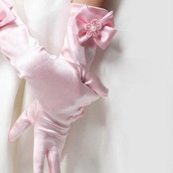 Elastic Girls formal Etiquette Gloves Flower Satin Bow Pearl Long Lace Bow Gloves Children Princess Dance Gloves Kids Gift G65